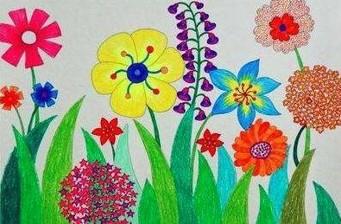 春天美丽的花朵儿童画