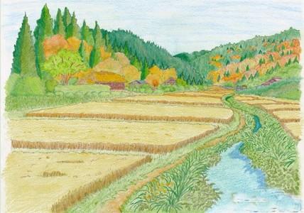 秋天的田野风光儿童画图片