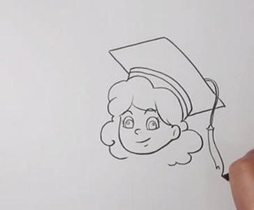 女博士简笔画卡通形象画法步骤图解