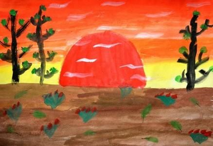 美丽的日落儿童水粉画