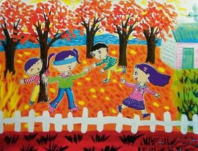 金灿灿的秋天儿童画