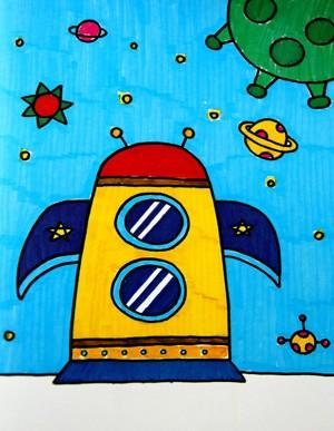 水彩画-火箭飞船