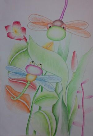 蜡笔画-飞舞的蜻蜓