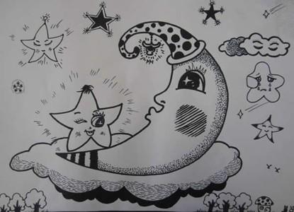 月亮星星儿童线描画作品赏析