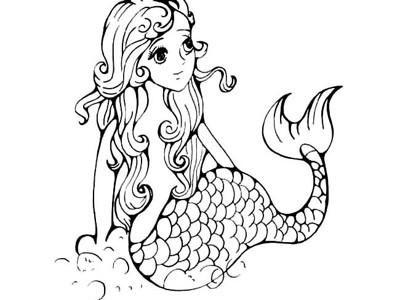 卡通美人鱼简笔画6