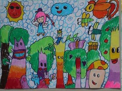 保护生态环境绿色家园儿童画