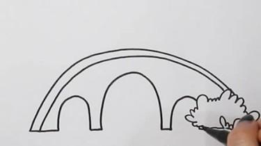 小桥流水风景简笔画图片
