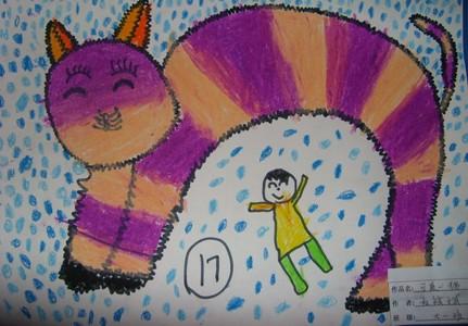 蜡笔画-我和猫咪玩耍