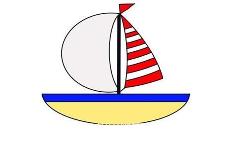 彩色帆船简笔画画法步骤图片教程