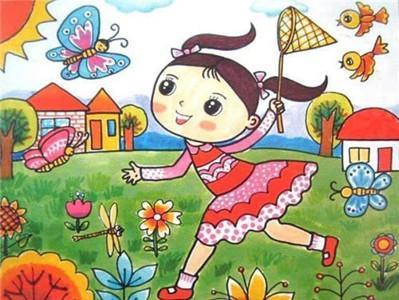 春天的风景儿童画