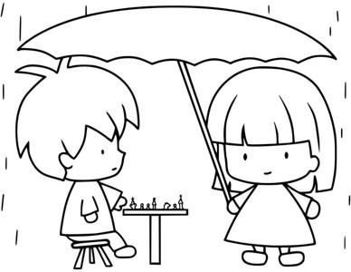 两个小朋友下棋简笔画