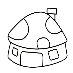 蘑菇房子简笔画图片 幼儿学画蘑菇房子简笔画彩色图片