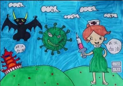 抗击新型冠状病毒肺炎儿童画图片