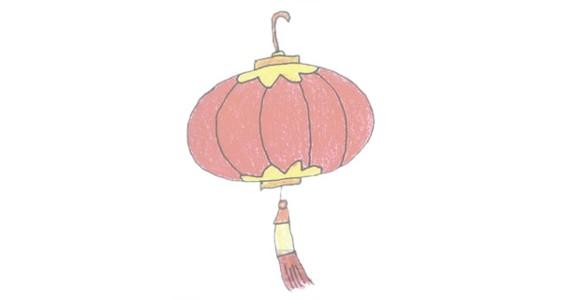 灯笼简笔画的画法步骤图解教程