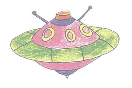 UFO飞碟彩色简笔画的画法步骤图解教程