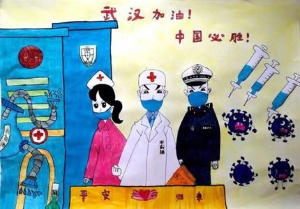 武汉加油中国必胜儿童画图片
