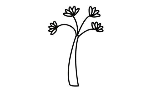 绿色卡通小树简笔画填色画法