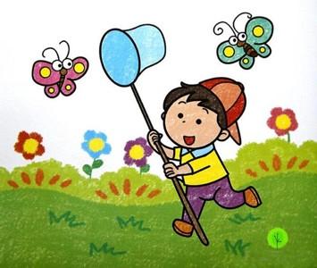 春天捕蝴蝶的小男孩儿童画