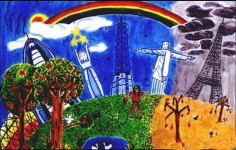 雨后天边的彩虹风景儿童画