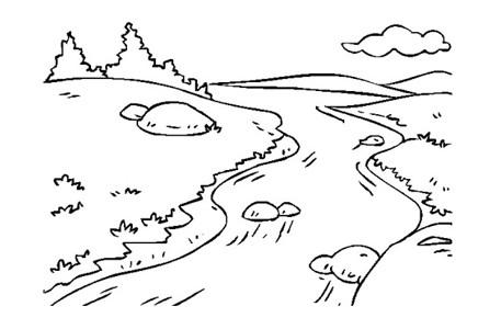小溪风景简笔画图片