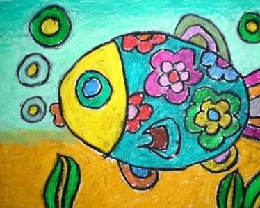 水彩画-畅游的小金鱼