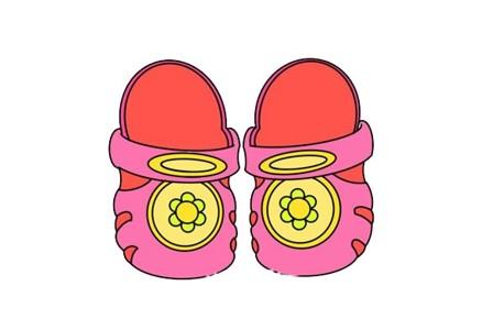 可爱凉拖鞋简笔画画法步骤图片教程
