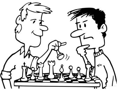 坐着下棋的人简笔画