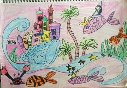 蜡笔画-蜡笔画图片大全-海底城堡