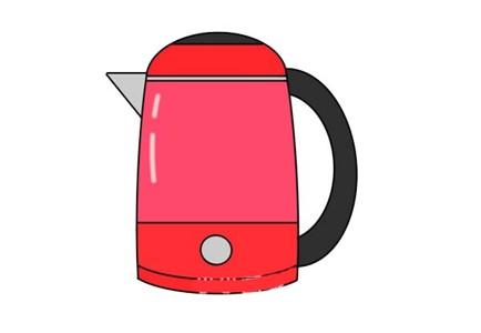 彩色的热水壶简笔画画法步骤图片教程