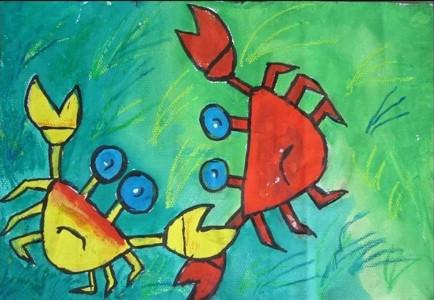 水彩画-两只螃蟹在玩耍