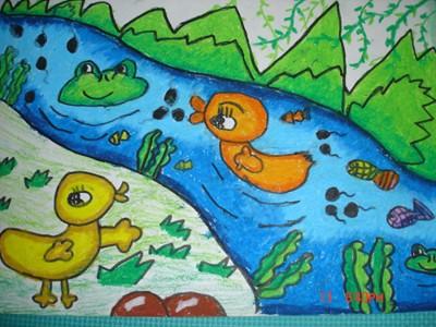蜡笔画-春游的小鸭子