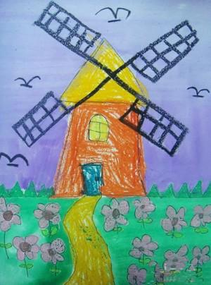 儿童画荷兰花海大风车
