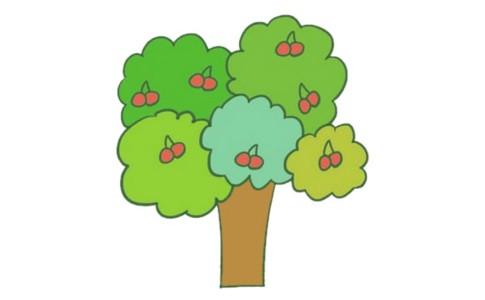 果树简笔画的画法步骤图解教程