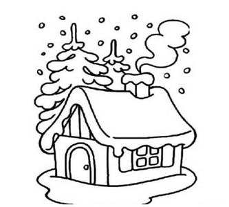 冬天下雪的场景简笔画
