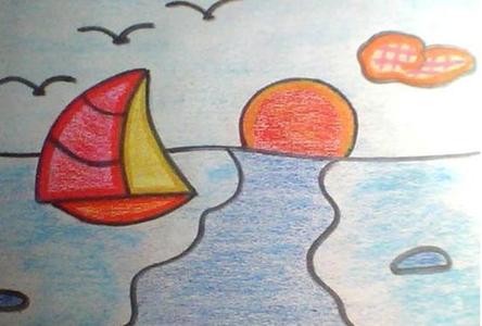 海上黄昏日落儿童画