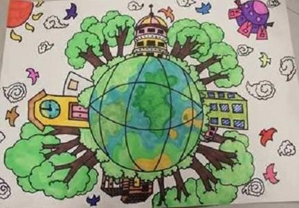 保护大自然环境环保主题儿童画