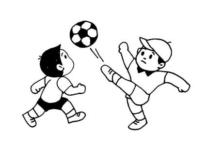 踢足球的两个孩子简笔画