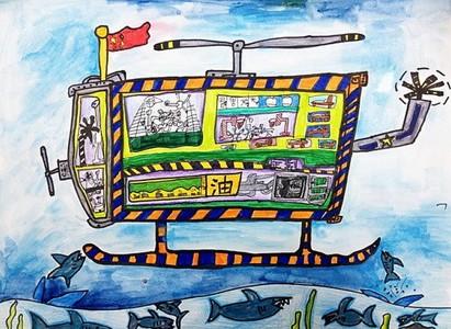 海底世界航海飞机儿童画