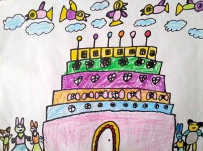 蜡笔画-蛋糕房子
