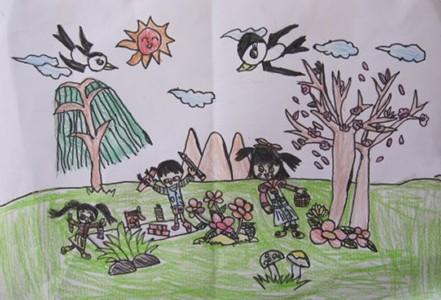 春天里的郊游儿童画作品欣赏