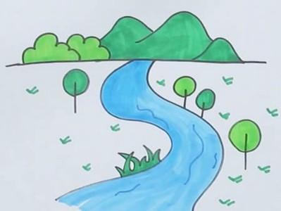 高山流水简笔画怎么画
