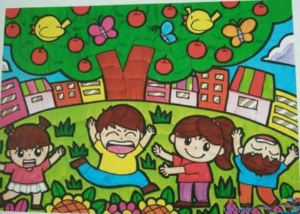 秋天的苹果树儿童画