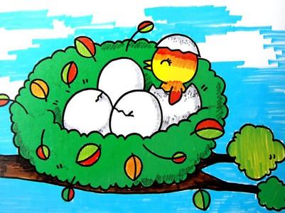 水彩画-鸟巢中的小鸟