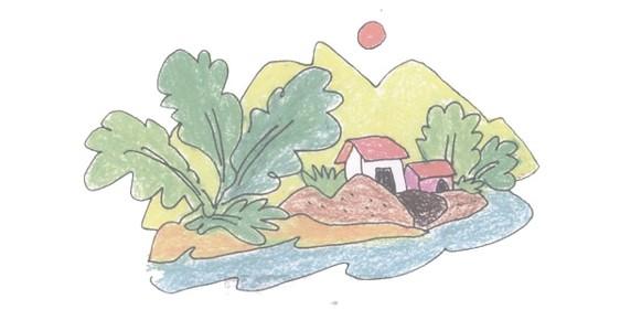 村舍简笔画的画法步骤教程