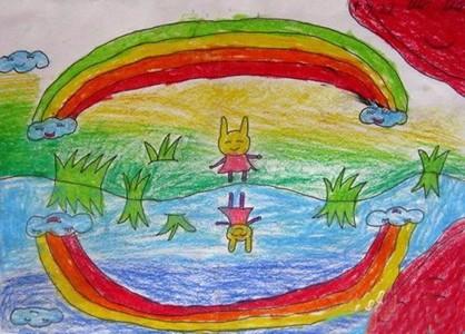 彩虹的倒影儿童画