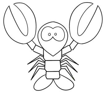 卡通龙虾简笔画教程