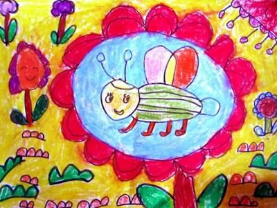 蜡笔画-辛勤采蜜的小蜜蜂