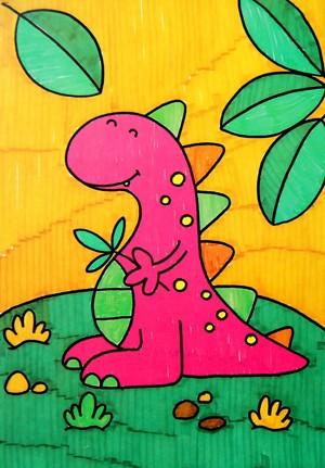 水彩画-可爱的恐龙