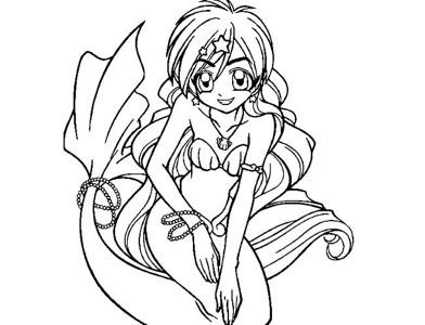 卡通美人鱼简笔画8