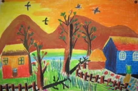 美丽的乡村晚霞风景儿童画